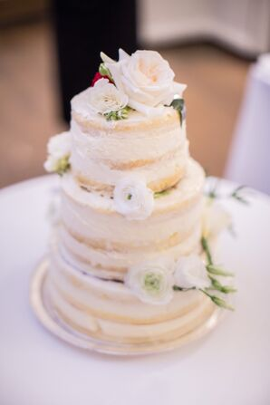 Rustic Ivory Naked Cake with Fresh Flowers