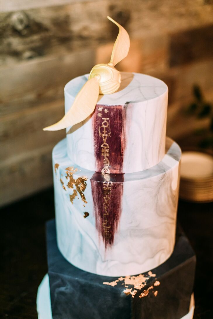Whimsical, Hand-Painted Harry Potter Wedding Cake