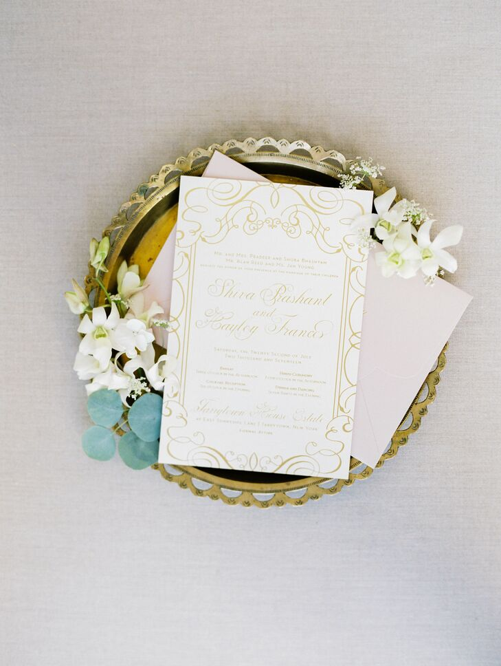 Glamorous Gold Invitation Suite with Calligraphy