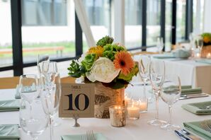 Orange and Green Floral Centerpiece With Gerbera Daisies