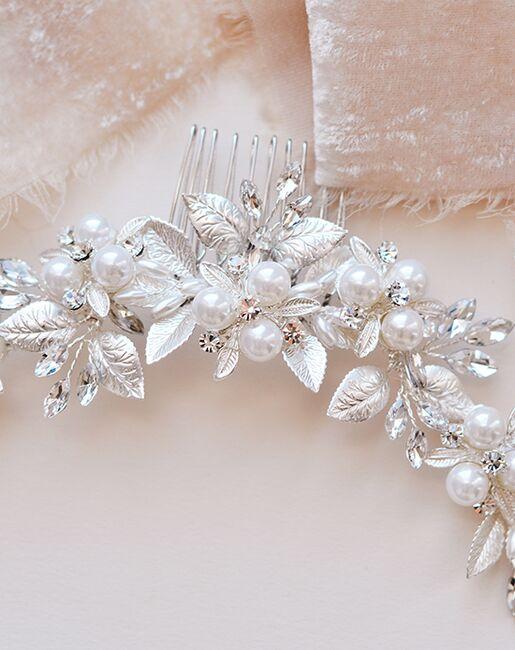 Dareth Colburn Julia Pearl & Floral Comb (TC-2311) Silver Pins, Combs + Clip