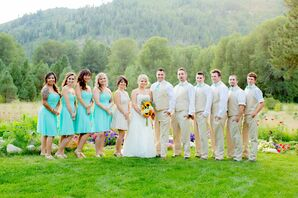 Blue and Khaki Wedding Party Attire