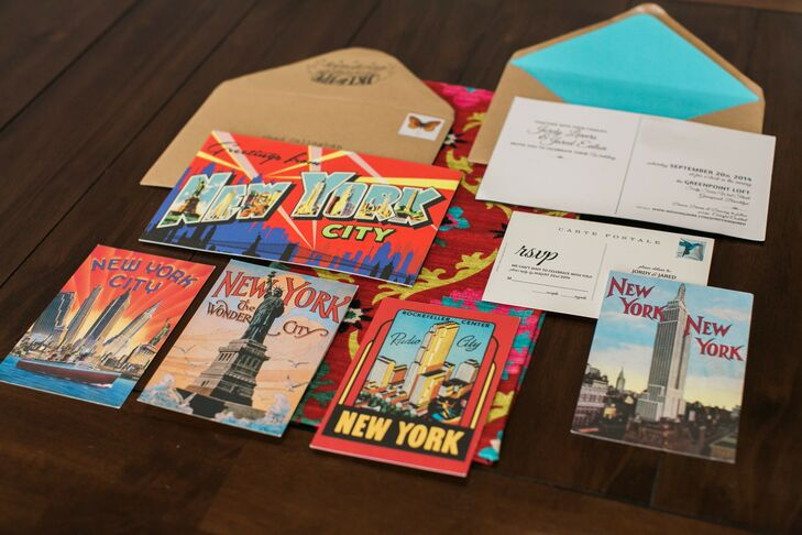 """""""We wanted our invitations to convey the tone of the event, so we went for an oversize vintage 'Greetings From New York!' postcard design,"""" says Jordy. The RSVP cards were printed on smaller vintage postcard designs from the Museum of Modern Art."""