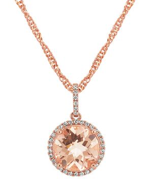 Shane Co. Round Morganite Pendant in 14k Rose Gold Wedding Necklace photo