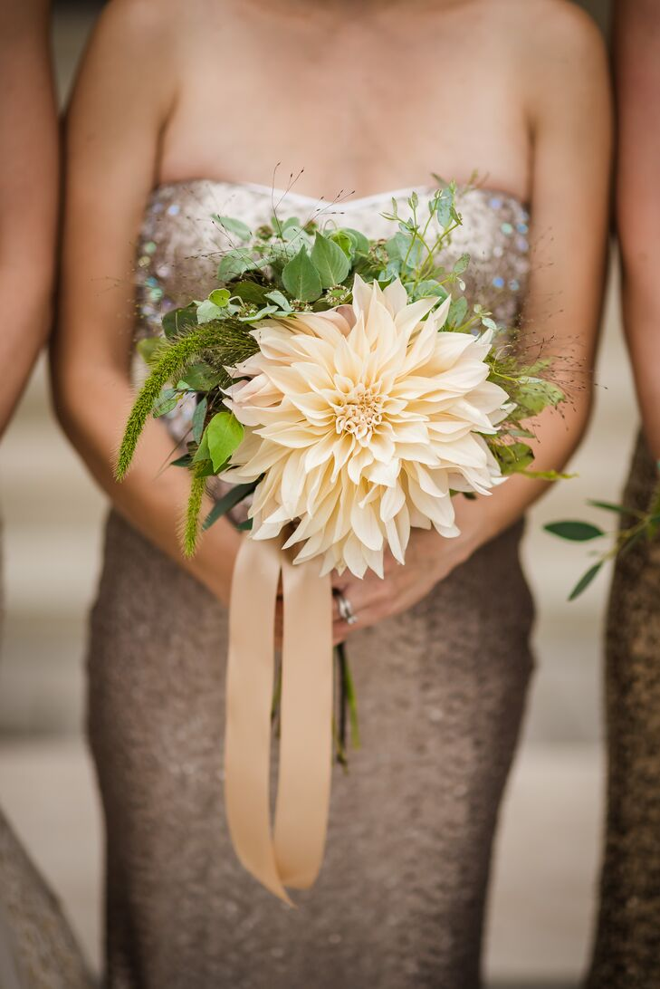 Statement Cafe au Lait Dahlia Bridesmaid Bouquet