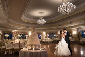 First Dance Under Chandeliers at Oheka Castle Ballroom
