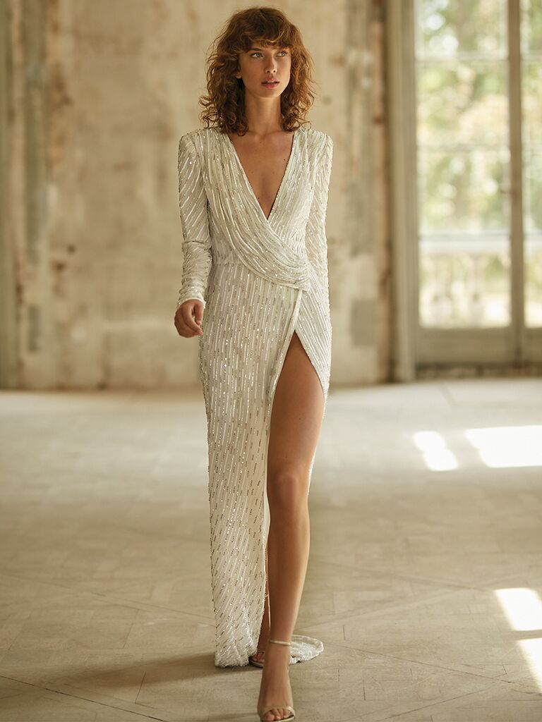 Long sleeve V-neck dress with sequins and high slit