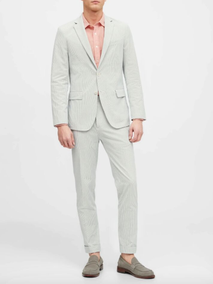 White and blue seersucker suit