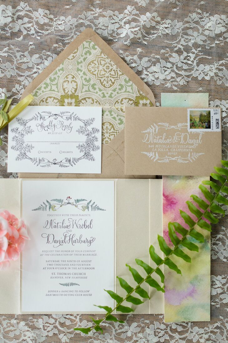 Natalia designed all the stationery herself--the invitations featured a hand-watercolored ferns in metallic colors.