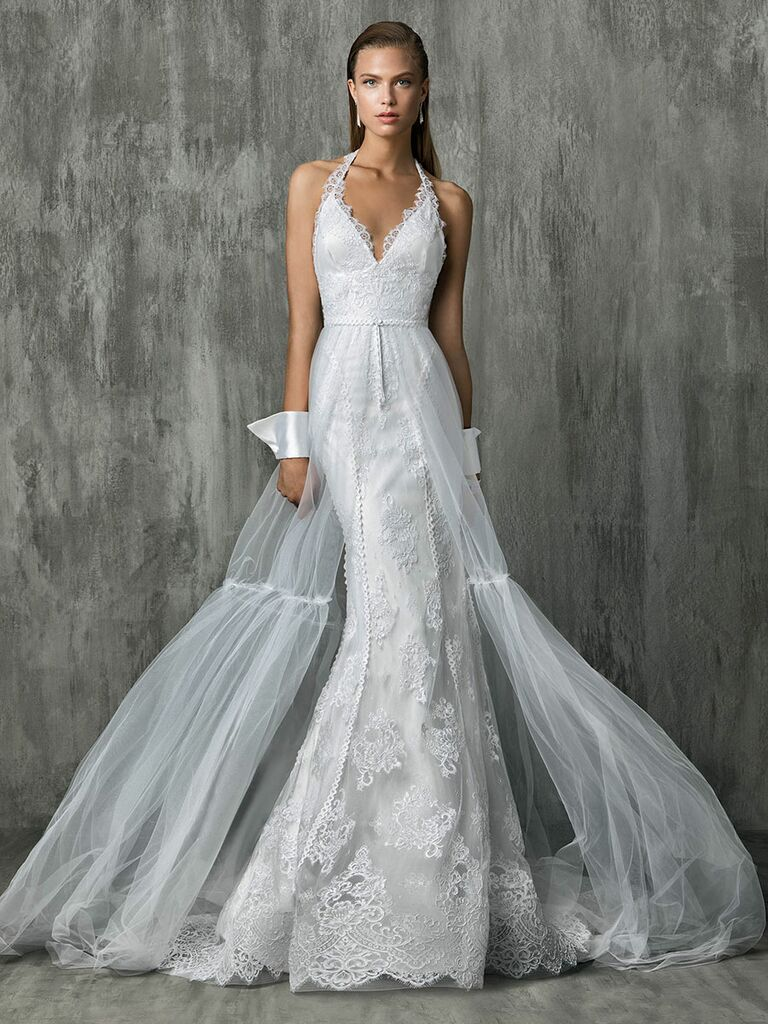 Victoria Kyriakides Fall 2018 wedding dresses with a tulle skirt