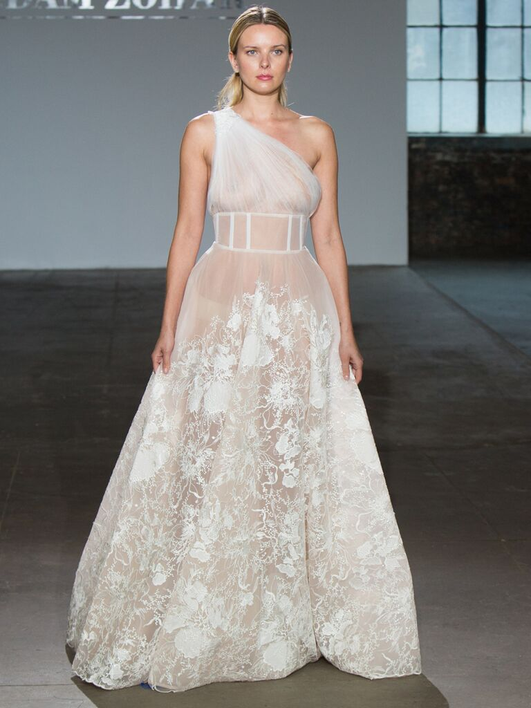 Adam Zohar Spring 2019 Collection one-shoulder sheer A-line wedding dress with ruched tulle bodice and floral embroidered skirt