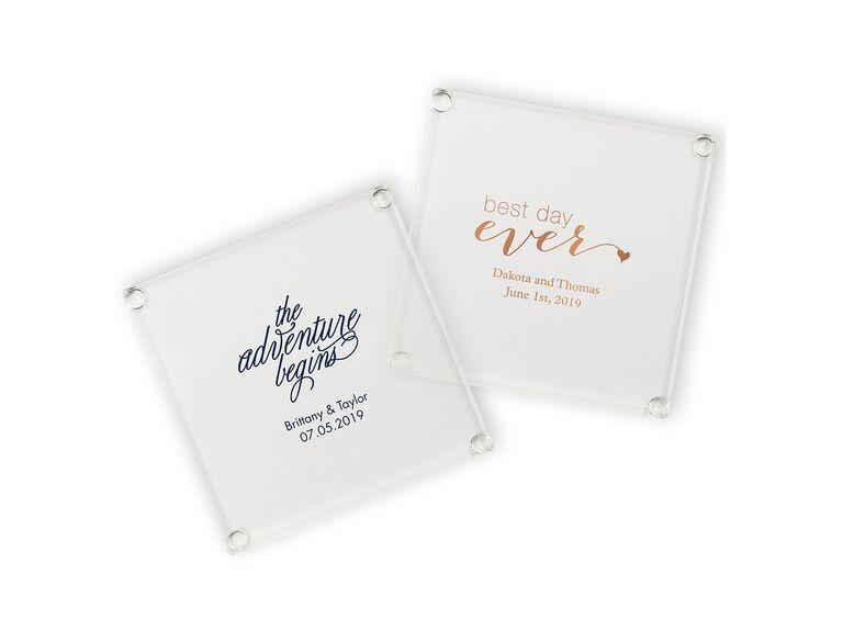 Glass coasters wedding favors