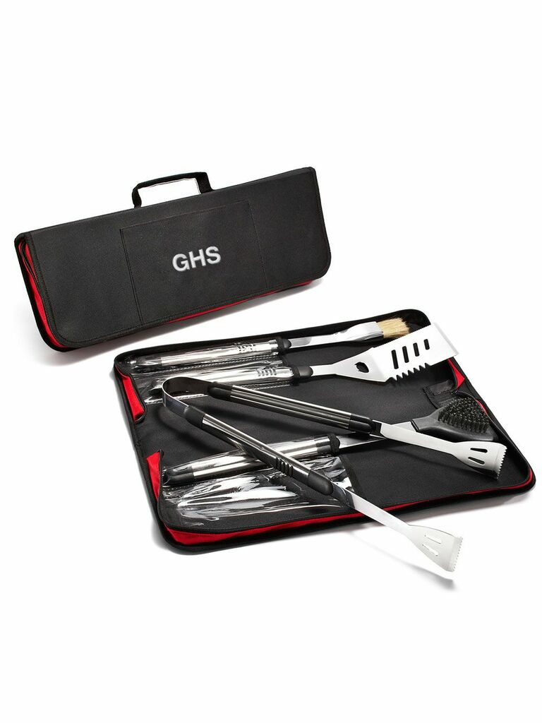Black barbecue tool kit personalized with initials