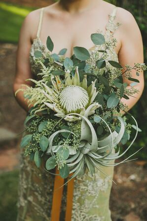 Nontraditional King Protea and Air Plant Bouquet