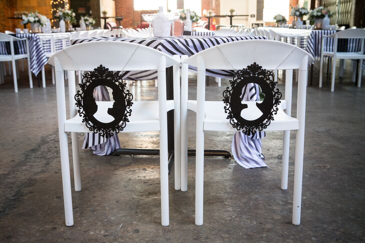 White Chairs, Bride and Groom Decor