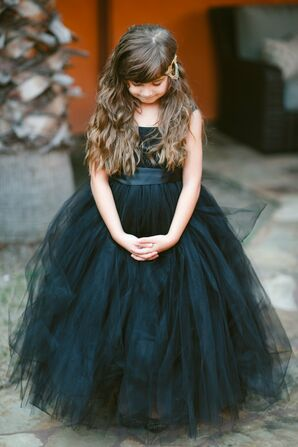Black Tulle Flower Girl Dress with Gold Headpiece