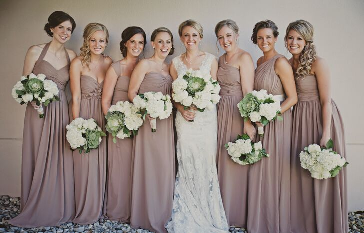 733069b0cc Full-Length Taupe Bridesmaid Dresses and Cabbage Flower Bouquets