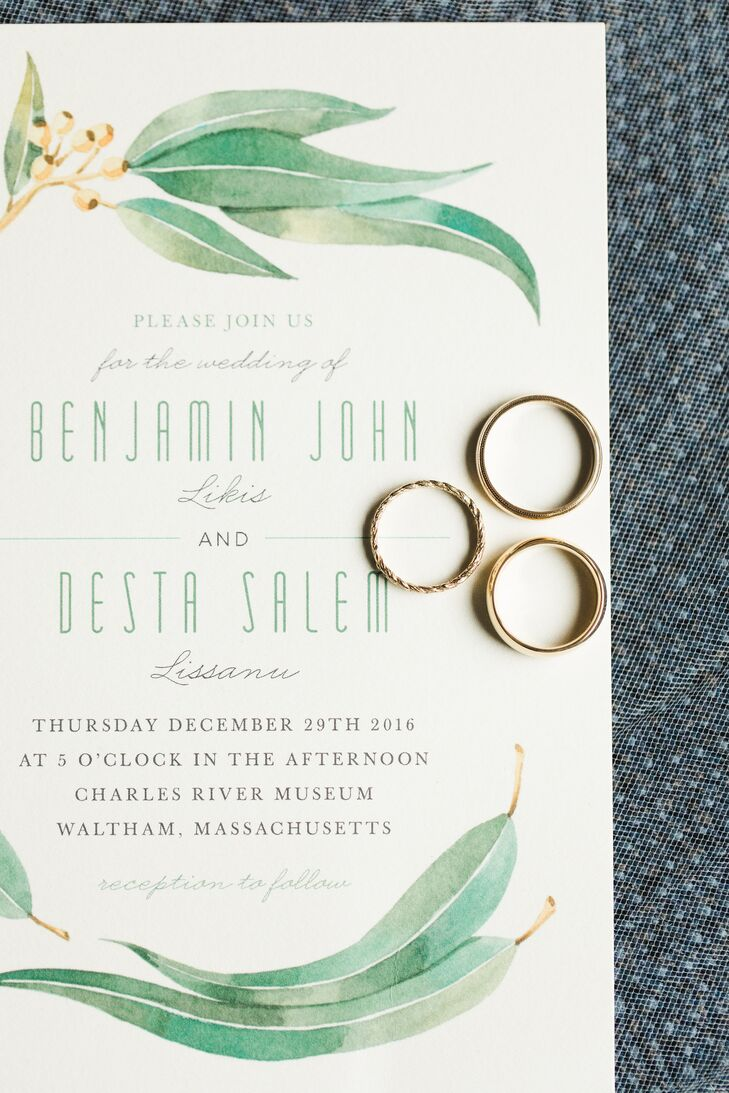To give guests a taste of the event to come, Desta and Benjamin selected modern cream and pale green invitations from Minted.com bearing a watercolor olive-leaf theme that spoke to the lush garland centerpieces that would adorn the farm-style dinner tables during the reception.