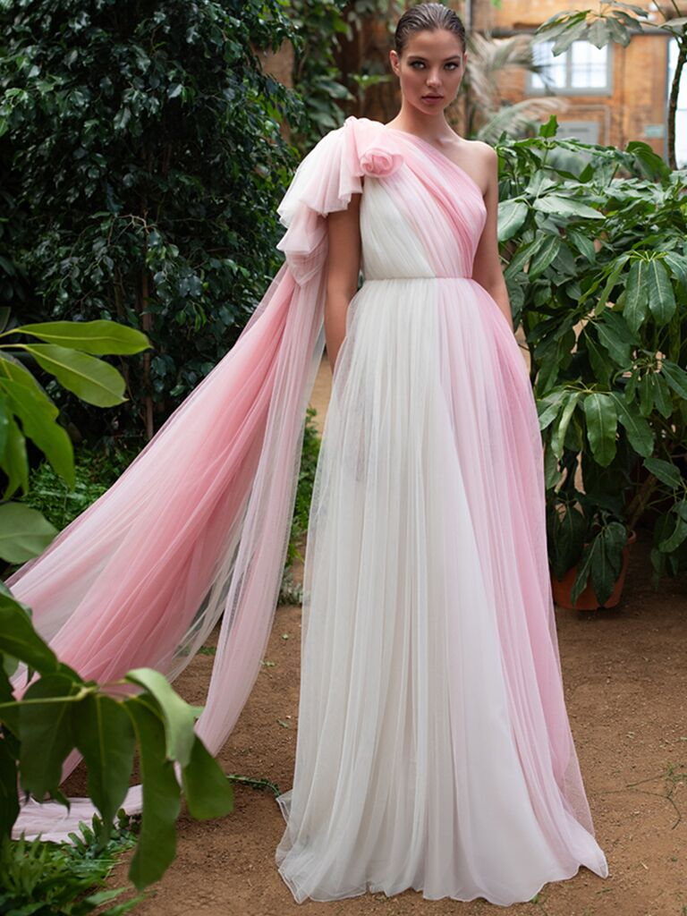 Zac Posen for White One A-line one-shoulder dress with pink tulle