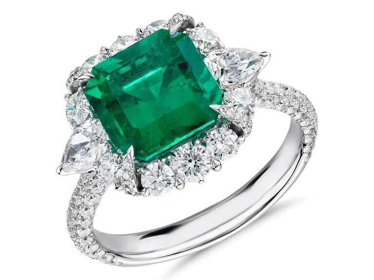 Emerald cut emerald and diamond engagement ring