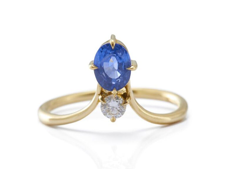 Blue sapphire and diamond crown engagement ring