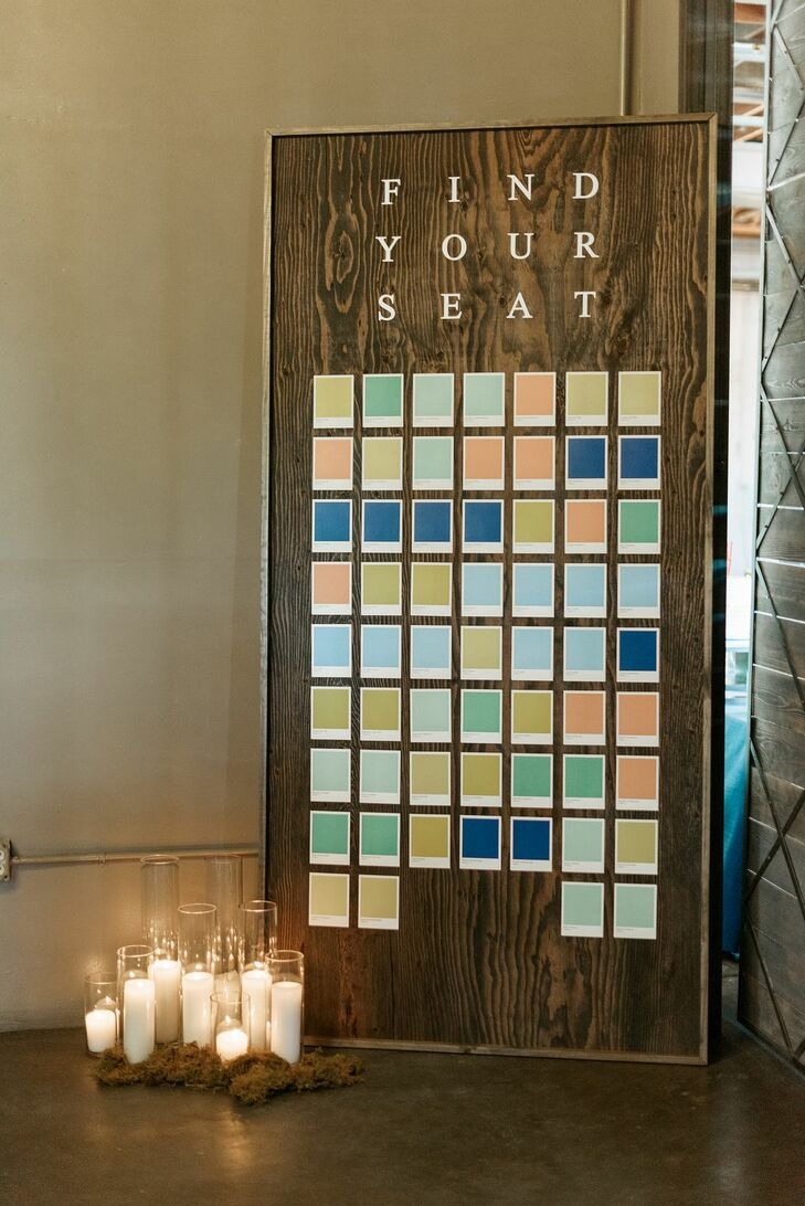 Midcentury Modern Wooden Seating Chart with Pantone Colors and Candles