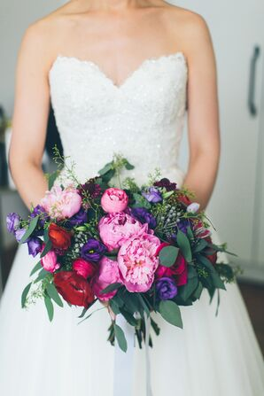 Pink and Purple Peony, Lisianthus and Ranunculus Bouquet