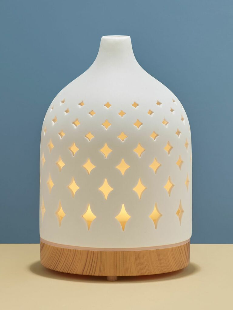 light up aromatherapy diffuser with wooden base