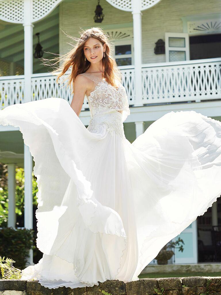Anya Fleet two-piece crop top wedding dress