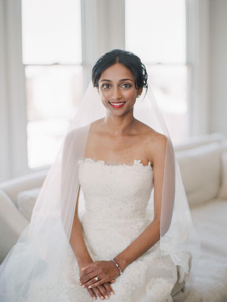 Strapless neckline wedding dress