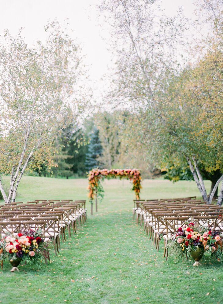 Backyard Wedding Cross-Back Ceremony Setup
