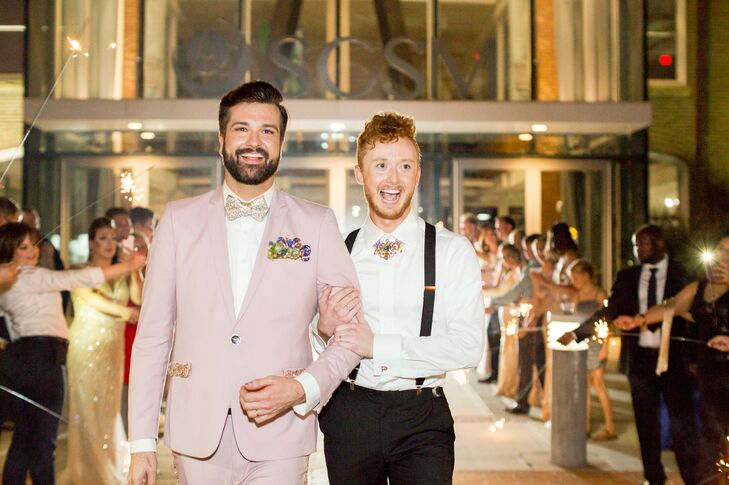 Chic Grooms Exiting Reception Through Sparklers
