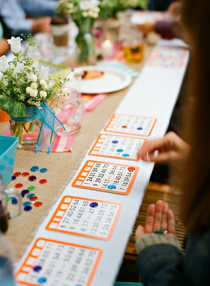 Guests of all ages enjoyed playing bingo during the reception, a twist on typical wedding entertainment.