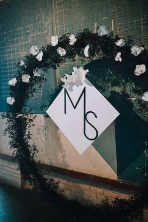 Modern Monogram with Orchid Flower Arch