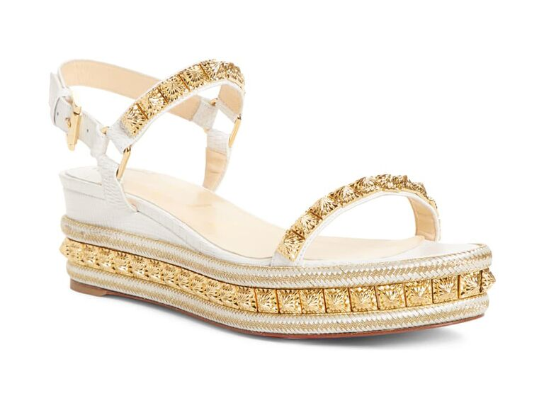 Gold wedge beach wedding shoes