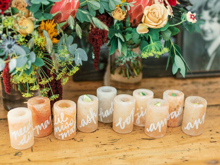 Backyard wedding ideas pink salt shot glasses