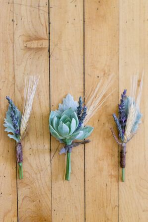 Succulent and Lavender Boutonnieres