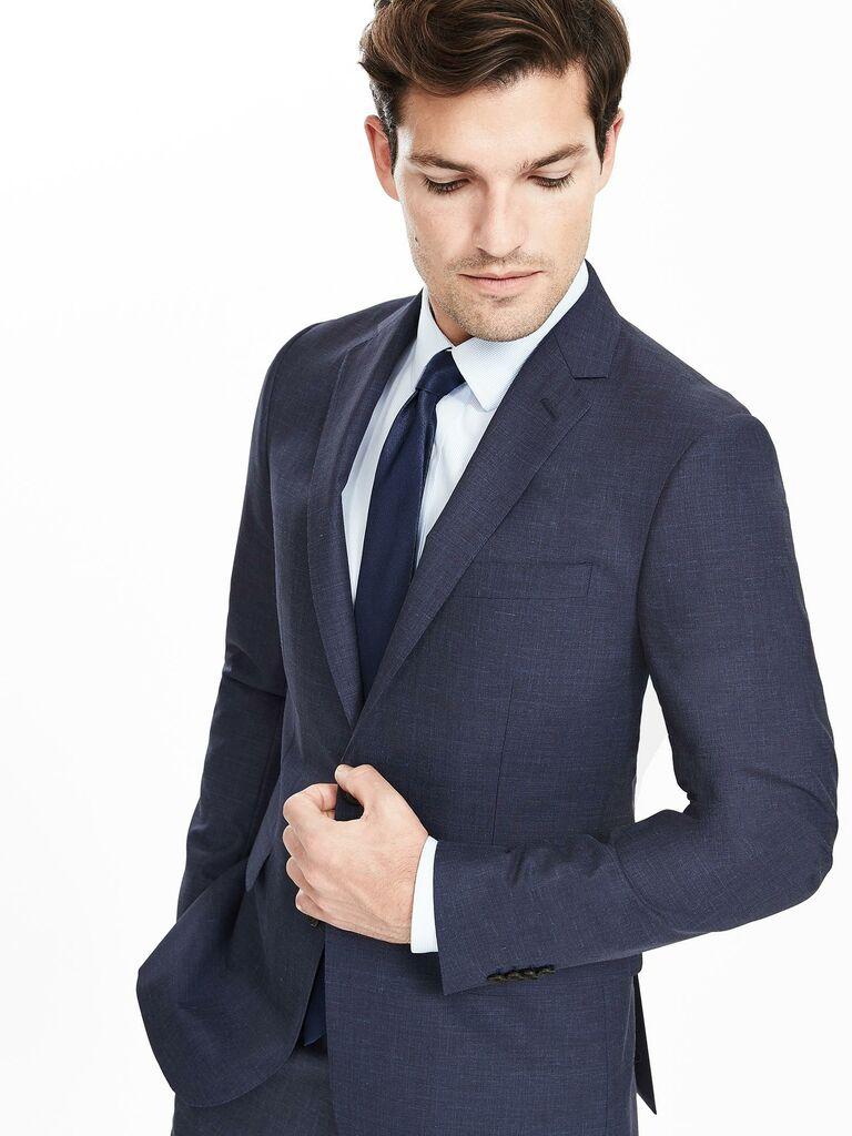 Banana Republic BR Monogram Navy Wool Silk Linen Suit Jacket
