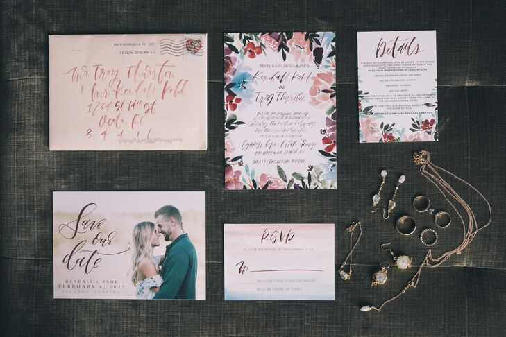 Bohemian Watercolor Suite with Flowers
