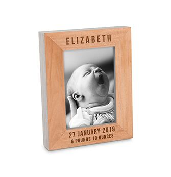 Personalized Wooden Photo Frame With Grey Edges