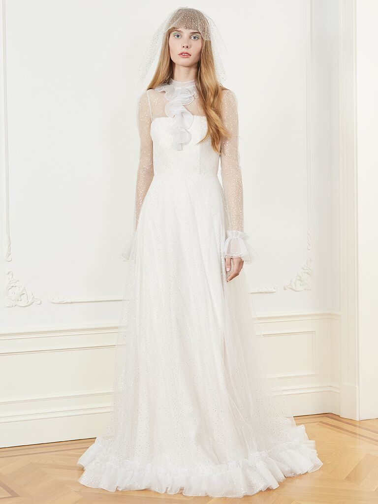 Honor A-line wedding dress with long sleeves and sheer high neckline