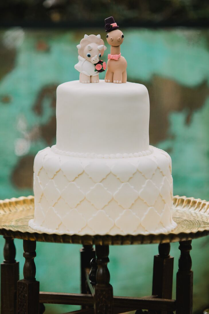 Dinosaur Cake Toppers on Simple White Fondant Cake