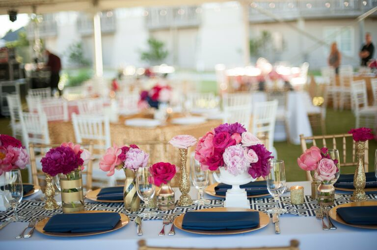 Navy Fuchsia And Gold Table Settings