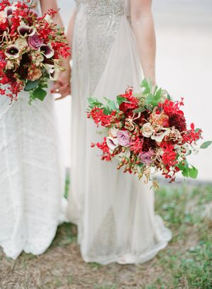 Bright Red Rose and Calla Lily Bouquets