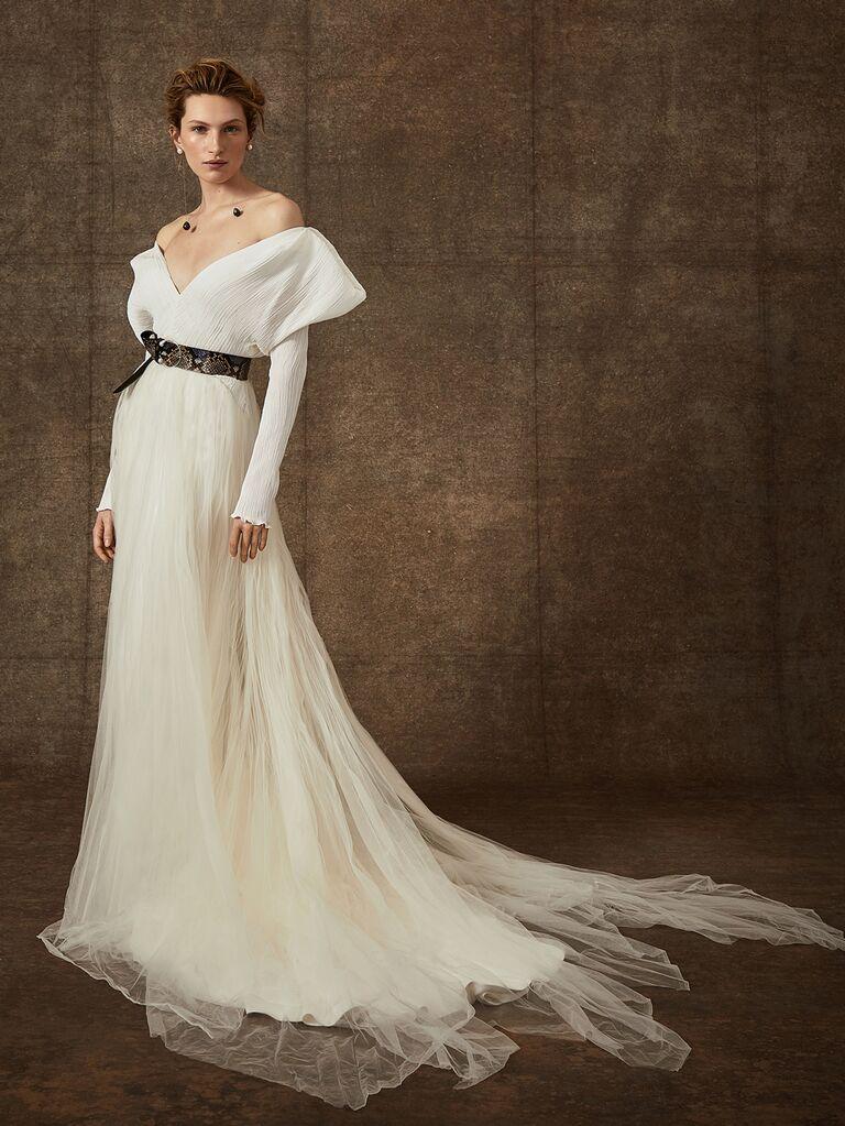 Danielle Frankel Spring 2020 Bridal Collection textured off-the-shoulder wedding dress with black belt