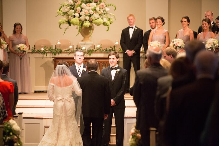 Before heading to The Cadre Evening for a lively celebration filled with lots of dancing and delicious eats, Hailey and James exchanged vows in a traditional church ceremony at First Evangelical Church in downtown Memphis.