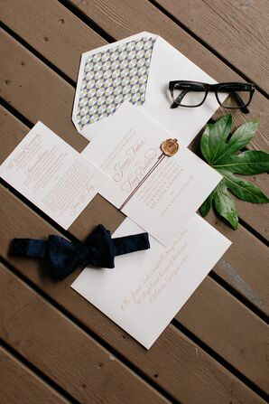 Classic White with Gold Lettering Invitations