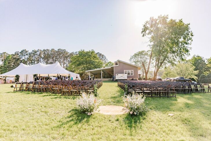 Casual Backyard Ceremony with Folding Chairs