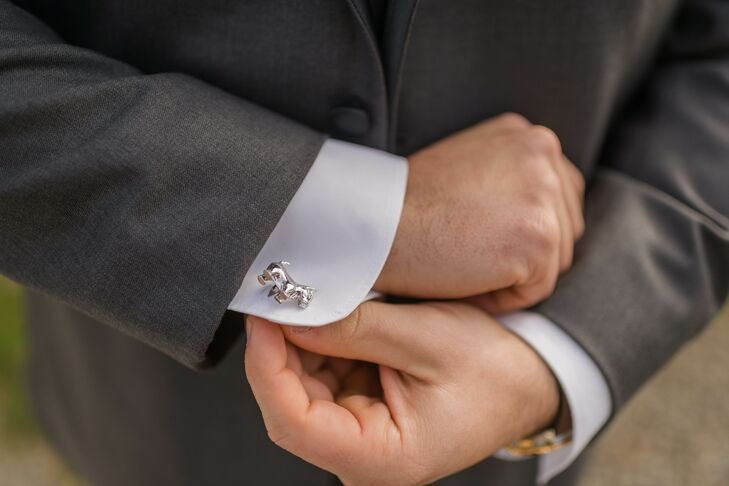 Hayden wore silver cufflinks in the shape of a dog on one sleeve and a bone on the other. Since Chelsea and Hayden's dog, Lacey, couldn't be part of the wedding day festivities, they decided to honor her in another way. The personalized detail was simple enough to not be fussy, but present enough to be noticed.