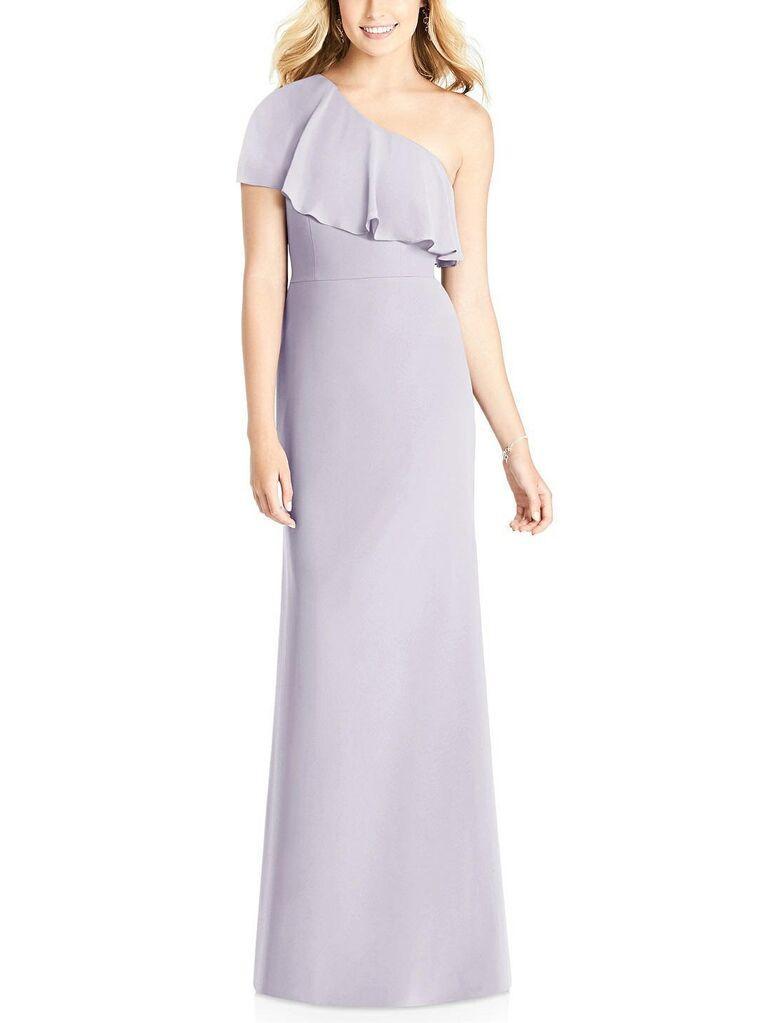 Purple gray one shoulder bridesmaid dress